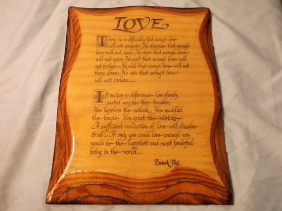 Wood Plaque Love Poem Emmet Fox Decoupage