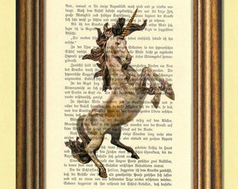 THE HEALING UNICORN - Fantastic beasts - Dictionary art  print - Wall art