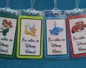 """Set of Four """"I'm Going to Disney World"""" Luggage Tags - any characters"""