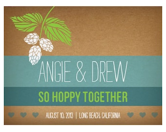 Personalized Wedding Beer Labels, Hops, Beer Theme Wedding