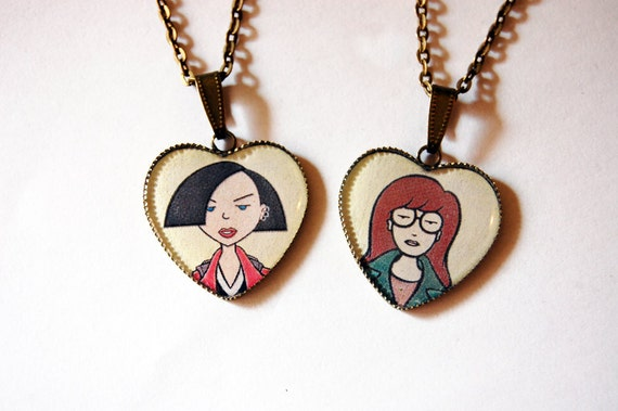 Daria Morgendorffer and Jane Lane - Set of 2 Handmade  Heart Cameo Pendant Necklaces - Best Friends Jewelry