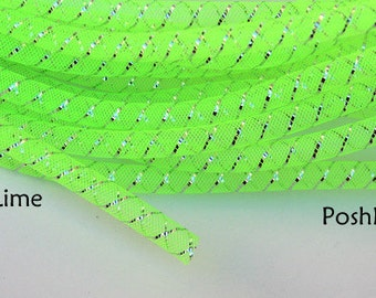 10 yards 3/8 Metallic Tubular Crin - Neon Lime