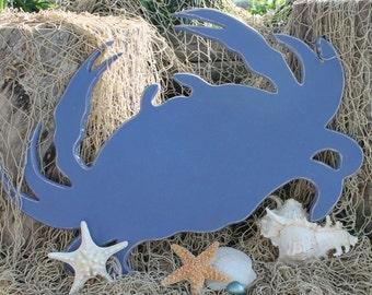 Blue Crab Wooden Coastal Beach Wall Art SIgn