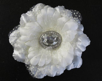 SALE Ivory Bridal Flower Hair Clip- Wedding Accessory - Crystals-Bridal Fascinator-Bridal Accessory