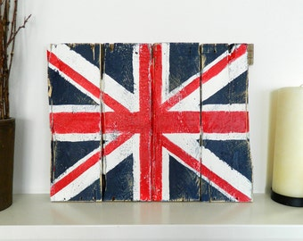 Hand Painted British Union Jack Flag On Reclaimed Wood