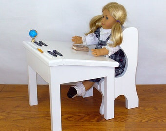 "American Girl Doll Furniture / 18"" Doll Furniture School Desk and Chair (White)"