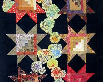 Starry Night In The Garden - Art Quilt - Pieced - Quilt - Applique - Wall hanging - Stars - Original - Handmade