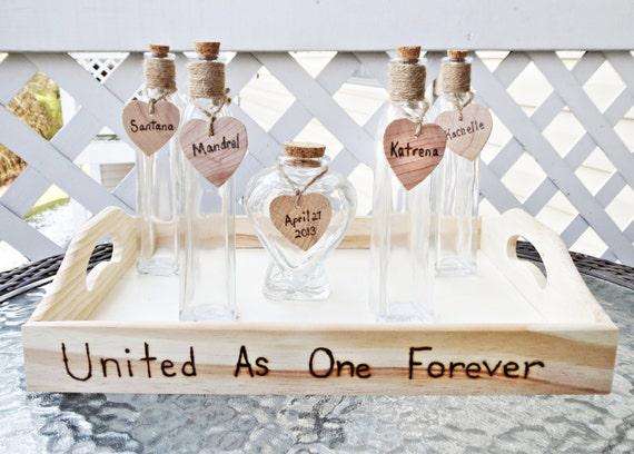 Items Similar To Custom Heart Shaped Vase Wedding Unity Sand Ceremony Set Of 5 Glass Vases