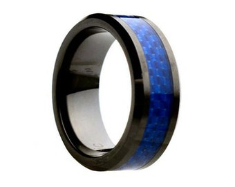 Ceramic Wedding Band,Mens Ring,Mens Wedding Bands,Custom Made,Rings,Blue Carbon Fiber,8mm,Engraving,Mans,Anniversary,His,Set,Size,Women