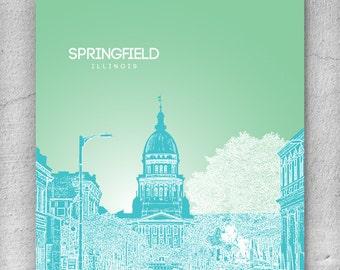 Office Wall Art Poster / Springfield IL Skyline Art Poster / Any City or Landmark