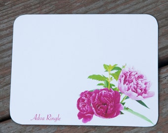 Personalized Note Card Stationery - Pink Peonies -  Gift for Her -  Stationary