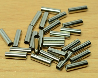 50 Pieces Silver Tone  3x10 mm Cylinder  Brass Tube