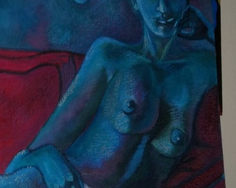 Blue Lady - painting in pastels