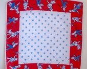 Vintage Childs Little Boy and Girl red white and blue playtime hankie