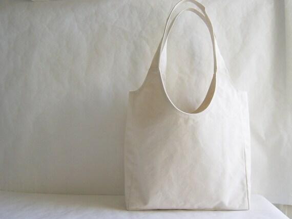 Cream Cotton Canvas Shopping Tote Bag