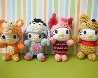 Winnie the Pooh family amigurumi keychain