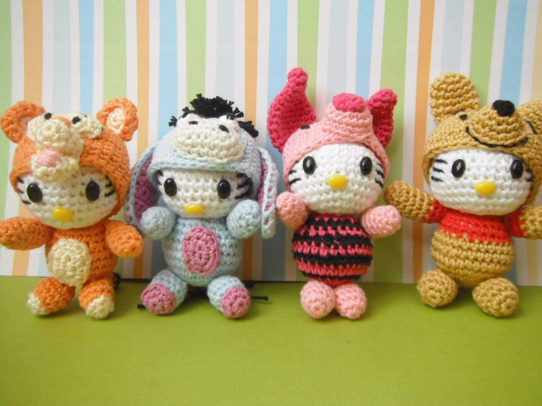 Amigurumi Starbucks : Winnie the Pooh family amigurumi keychain