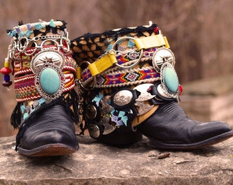 Custom vintage Black boho tribal upcycled COWBOY boots - boho boots - Festival boots gypsy boots ethnic boots leather ankle boots