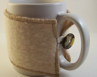 Eco-Friendly Coffee Cozy, Coffee Cup Sleeve, Upcycled From Cream Wool Sweater