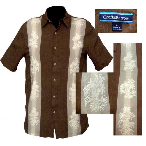 Mens chocolate brown tiki shirt rockabilly shirt surfer for Mens chocolate brown shirt