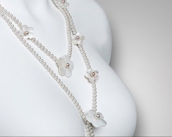 vinage freshwater pearl and mather of pearl long necklace