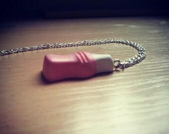 Strawberry milkshake bottle necklace