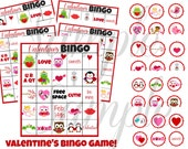 INSTANT DOWNLOAD Valentines Day BINGO 3 in 1 Games Printable Download - Fun Family Party diy Memory Old Maid