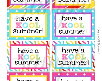 INSTANT DOWNLOAD End of the year Have a KOOL Summer Card / Note  - Printable