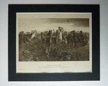 Original Victorian Matted Franco Prussian War Print - After The Battle: Sedan - John Charlton - Horses - Equestrian - Cavalry - Army