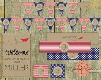 DIY Paper Airplane PDF Printable Party Collection - DIY Party