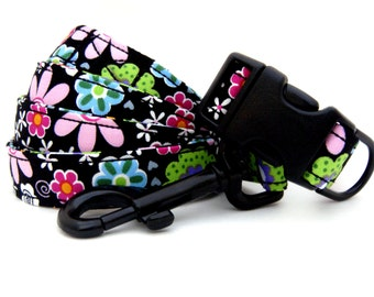 HIP PUP.....Midnight Blooms......Dog Collar and Leash Set