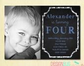 Birthday Baby Boy Invitation - 1, 2, 3, 4, 5 year old - 1st Birthday - DIY Photo Printable Custom Invite - Chalkboard