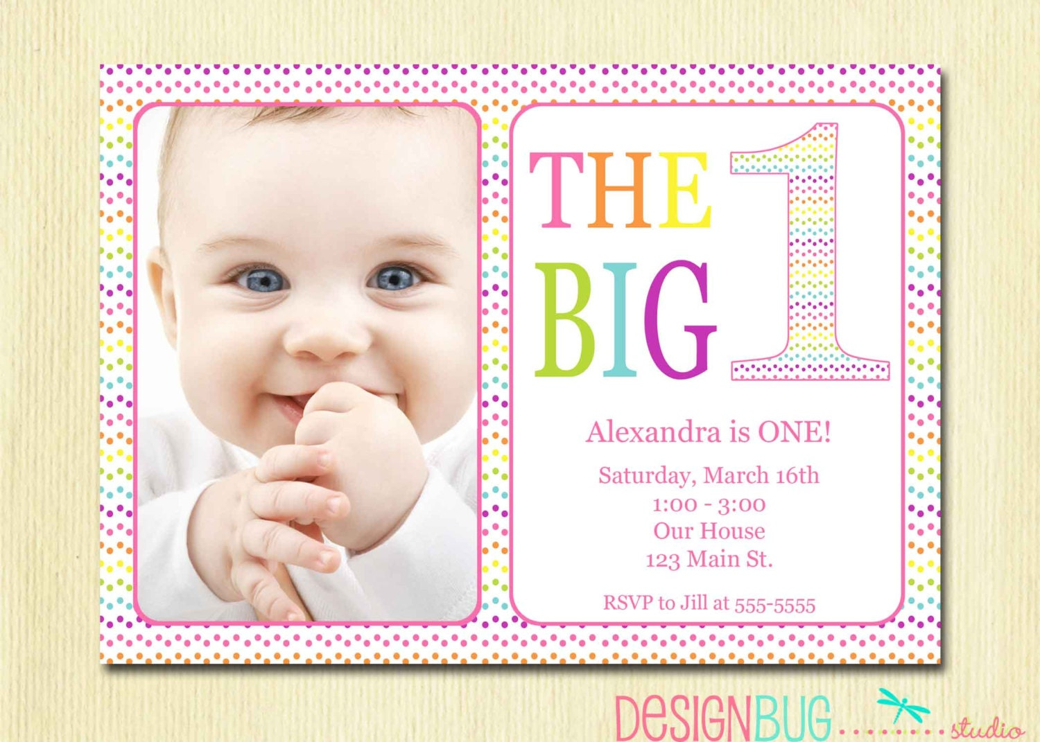 Rainbow First Birthday Invitation Baby Girl DIY Photo – 1 Year Birthday Invitations