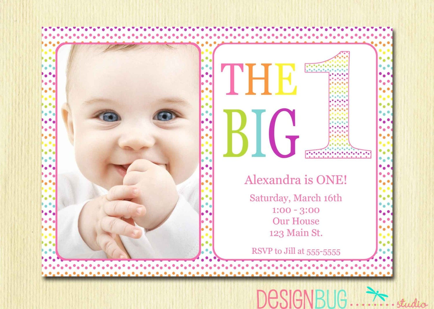Rainbow First Birthday Invitation Baby Girl DIY Photo - Birthday invitation wording for 1 year old baby girl