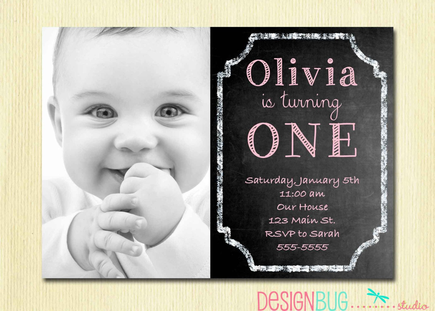1st Birthday Girl Invitation Custom Chalkboard Photo – 2 Year Old Birthday Invites