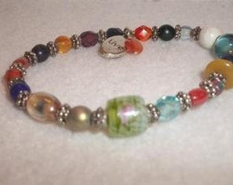 Colorful Beaded LIVE Stretch Bracelet Handmade Boho