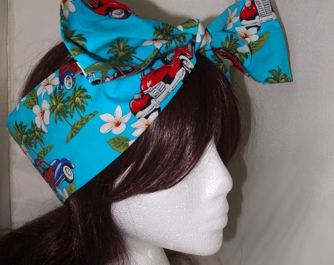 Vintage Tropical Car Bow Head Scarf - Bandanna Hair Tie Pin Up Girl Retro VW Beetle 50s Vintage Classic Cuba Hibiscus Hawaii Beach Sea Sun