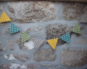 Autumn Colours, Wooden Bunting Made in Cornwall Approx 1.5m long. Vintage. Seaside. Scandinavian. Coast. Retro. Interiors. Beach.