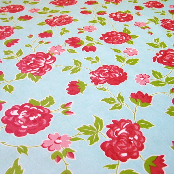 Laminated Marmalade floral blueberry fabric by Bonnie & Camille
