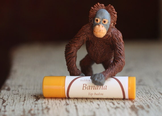 SALE - Banana Lip Balm - Handmade with Beeswax,Shea Butter,  Sweet Almond and Rosehip Oil