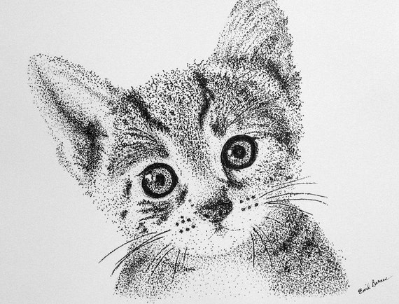 Original Pen And Ink Pointillism Drawing Of A KITTEN