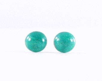 Teal studs, teal earrings, blue post earrings, simple blue jewelry, blue stud earrings