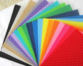 Printed Felt Fabric Group - polka dot design ( 30x30cm, 20 in a set)