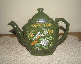 Green Glazed Red Clay Teapot with Hand Painted Trim