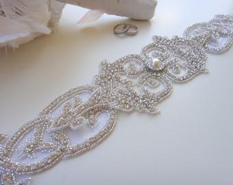 Swarovski Crystal Bridal Sash Belt, Rhinestone Bridal Belt Sash, Beaded Bridal Sash Belt