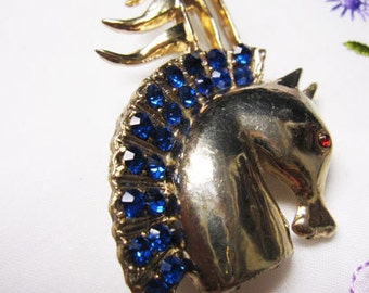 "Vintage, Retro, ""Off to the Races""  Rhinestone mane horse head with flags Brooch/Pin"