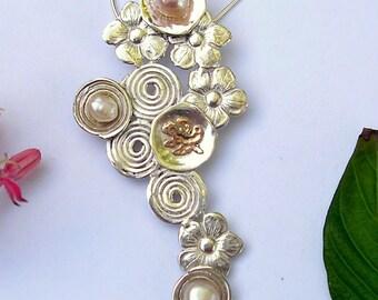 pearls, flowers, spirals,,Sterling silver, gold,  cascade necklace, Handmade