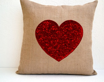 Burlap Heart Pillow Cover With Red Heart Made With Sequins, Decorative Cushion Cover, Valentine Gift, Easter Decor, Throw Pillow Cover 20x20