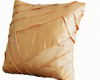 Premium throw pillows in gold satin with luxurious pleats- sateen cushion cover in 16 X 16