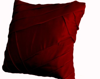 Throw pillow Cover, Deep red satin with luxurious pleats, Sateen cushion cover 16x16, Pillow covers, Red pillows, Red bedding, Girl Bedding